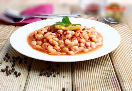 kuru: White beans stewed in tomato sauce Stock Photo