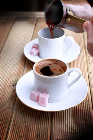 turkish coffee: Turkish coffee is served hot, with Turkish delight.