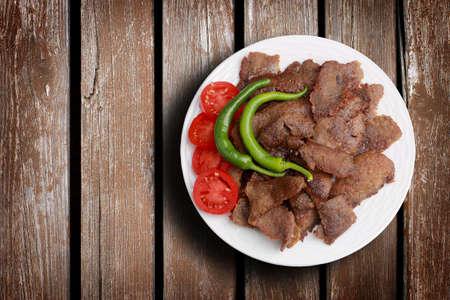 donner: Traditional turkish doner kebab. Donner kebab on a wood background.