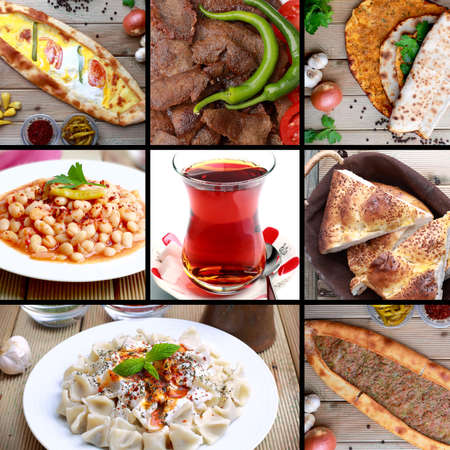 ner: The famous Turkish food images and famous Turkish tea Stock Photo
