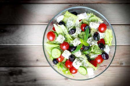 greek salad: Greek Salad on wooden background