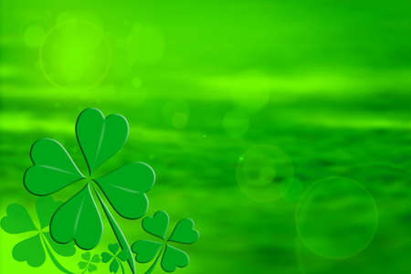 irish culture: Four leaf clover design on a green background