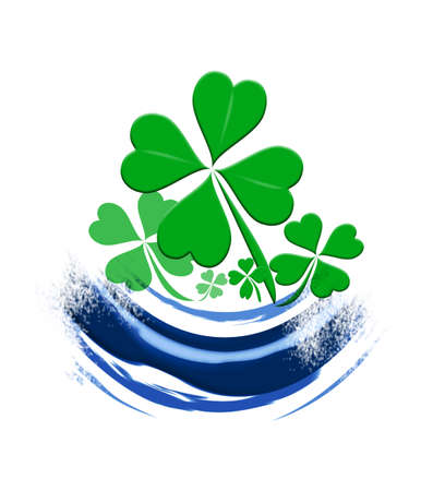 leafed: Four leaf clover design on a white background Stock Photo