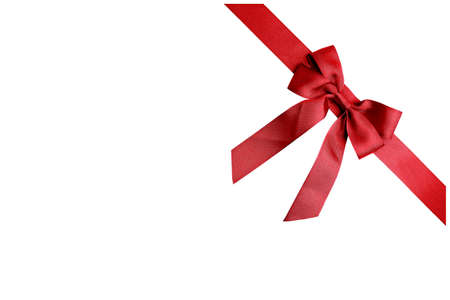 favor: Red ribbon isolated on white background Stock Photo