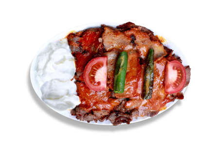 Kebap with yogurt is one of the most famous meat foods of northwestern Turkey. Stock Photo