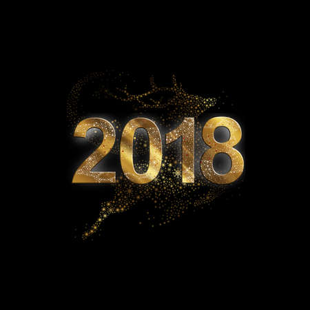 newyear: Vector illustration of a flying gold reindeer Stock Photo
