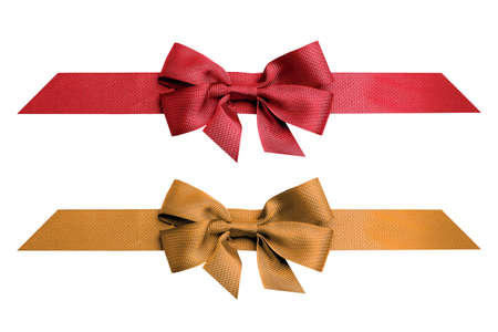 Red and gold ribbon isolated on white background