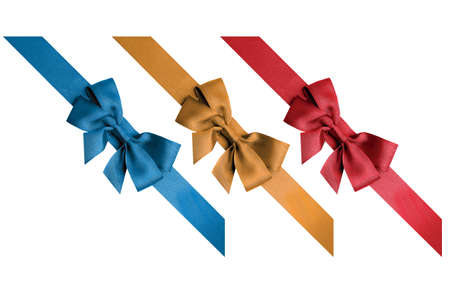 Red, gold, blue ribbons isolated on white background Stock Photo