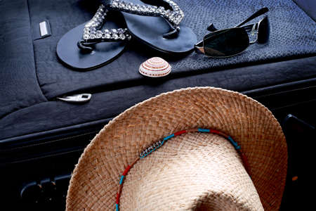 mussel: a suitcase on the slippers, sunglasses, hats and mussels