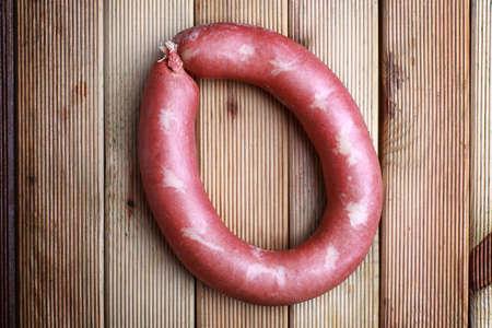 kangal: Traditional Turkish sausage on wood background Stock Photo