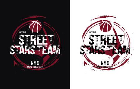 Basketball design. Vector illustration for t-shirt. Çizim