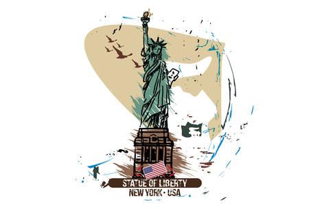 Statue of liberty, New York / USA. City design. Hand drawn illustration.  イラスト・ベクター素材
