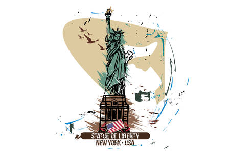 Statue of liberty, New York / USA. City design. Hand drawn illustration. Vectores