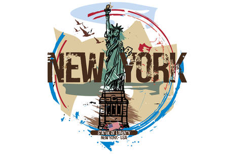 Statue of liberty, New York / USA. City design. Hand drawn illustration. Ilustração