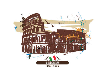 Rome, Colosseum Italy city design. Hand drawn.