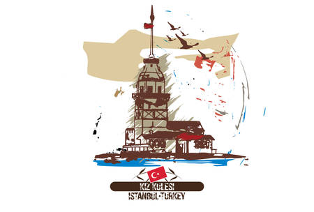 The Maiden's Tower (Kiz Kulesi), istanbul/Turkey city design. Hand drawn illustration.