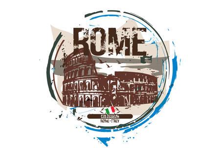 Rome, Colosseum/ Italy city design. Hand drawn illustration.