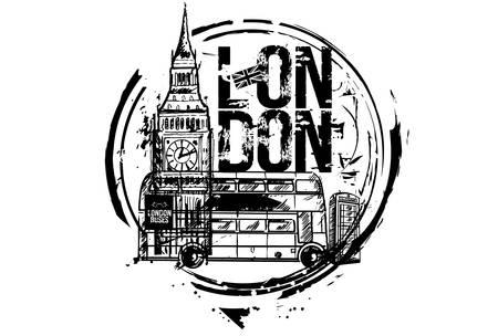 London bus, Big ben. London, England. City design. Hand drawn illustration.