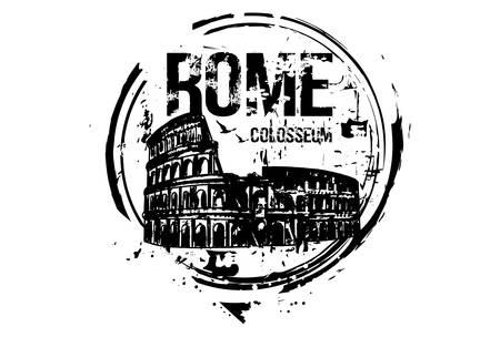 Rome, Colosseum. Italy city design. Hand drawn illustration. Illustration