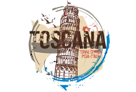 Pisa Tower. Toscana, Italy city design. Hand drawn illustration.