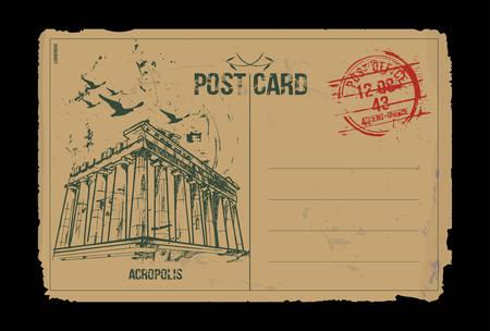 Acropolis. Athens, Greece. Post card design. Hand drawn illustration. Vektorgrafik