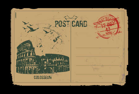 Rome, Colosseum. Italy. Post card design. Hand drawn illustration.   Çizim