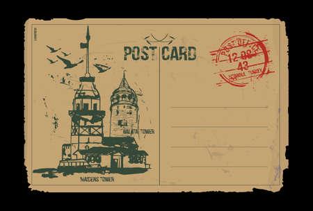 The Maiden's Tower (Kiz Kulesi) and Galata Tower. Istanbul, Turkey. Post card design. Hand drawn illustration.