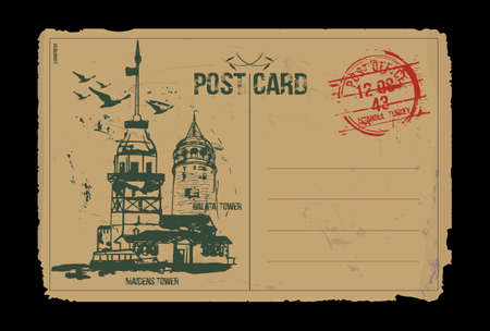 The Maiden's Tower (Kiz Kulesi) and Galata Tower. Istanbul, Turkey. Post card design. Hand drawn illustration.