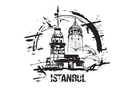 The Maiden's Tower (Kiz Kulesi) and Galata Tower. Istanbul, Turkey city design. Hand drawn illustration. Vettoriali