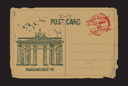 Brandenburg gate, Berlin. Post card design.  Hand drawn illustration.