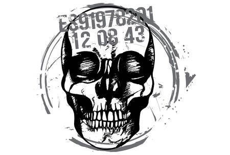 Black and white hand drawn illustration of criminal human skull. 矢量图像