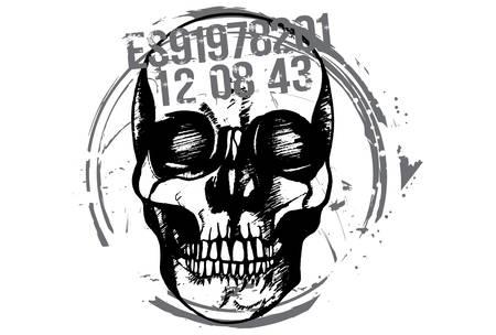 Black and white hand drawn illustration of criminal human skull. Illustration