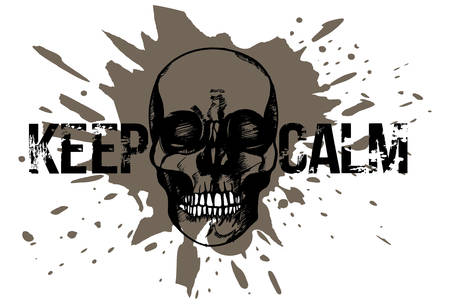 Black and white hand drawn illustration of human skull on a muddy ground