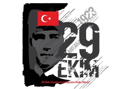 """""""29 Ekim Cumhuriyet Bayramı kutlu olsun!"""" English/ Happy Republic Day 29th October.October 29 Republic Day design"""