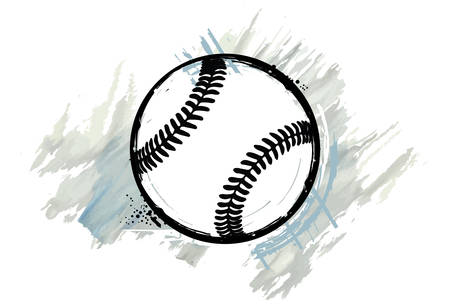 Baseball ball with a watercolor effect. Vector illustration.