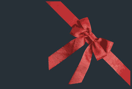 Red ribbon isolated on black background. Vector illustration.