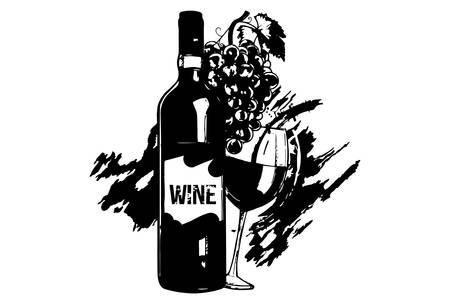 Una botella y una copa de vino y uvas, Ilustración dibujada a mano.