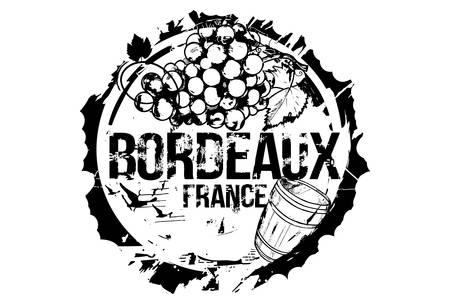 Vieux tonneau en bois et une grappe de raisin. Emblème de la ville de Bordeaux, France. Illustration dessinée à la main. Vecteurs