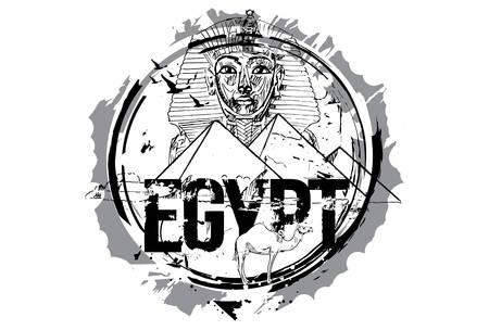 Egypt, Giza, Tutankhamun Egyptian Pharaoh king mask And The Pyramid Of Khafre With Camel