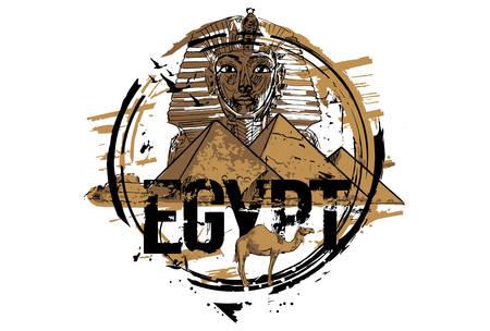 Egypt, Giza, Tutankhamun Egyptian Pharaoh king mask And The Pyramid Of Khafre With Camel. Hand drawn illustration.