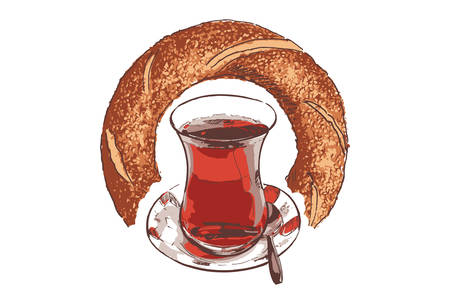 A cup of Turkish black tea and bagel on a white background. Vector illustration.