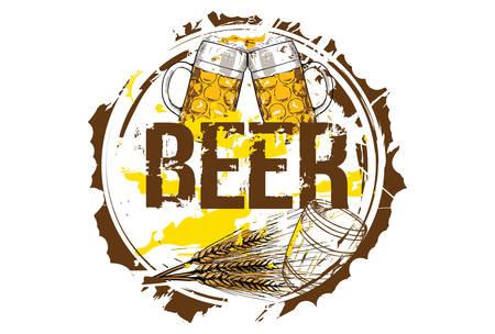 Barrel, barley and beer glasses. Beer concept. Hand drawn illustration. Ilustrace