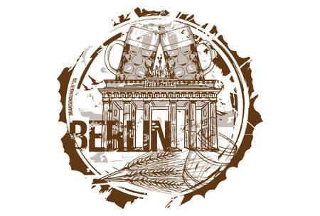 Brandenburg gate and Beer Festival concept. Berlin, Germany. Hand drawn illustration. Ilustrace