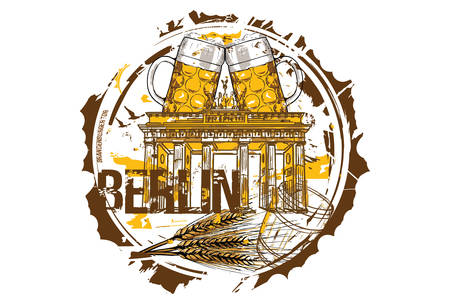 Brandenburg gate and Beer Festival concept. Berlin, Germany. Hand drawn illustration.  イラスト・ベクター素材