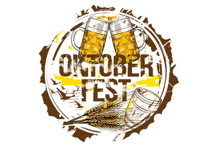 Oktoberfest Beer Festival concept. Hand drawn vector illustration. Vector Illustration