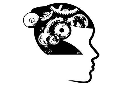 Brain Machine, brain with gear wheels on white background. Vector illustration.