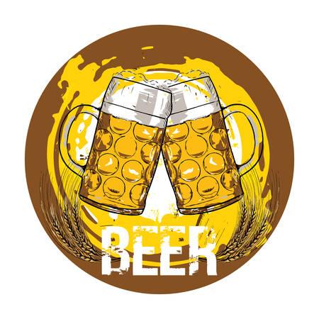 Beer glasses. Beer concept. Hand drawn illustration.