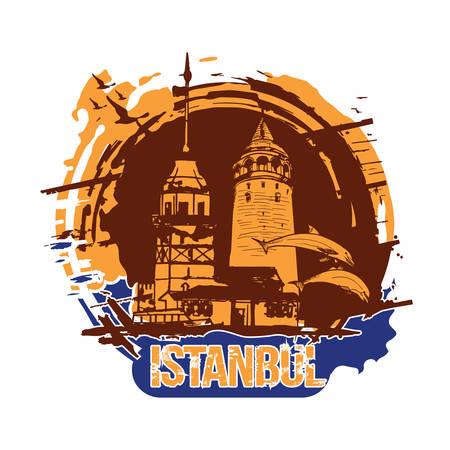 La tour de la jeune fille (Kiz Kulesi) et la tour de Galata. Conception de la ville d'Istanbul, Turquie. Illustration dessinée à la main. Vecteurs