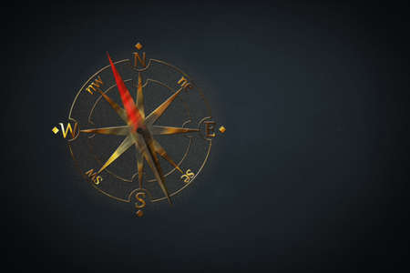 Gold colored compass design on black