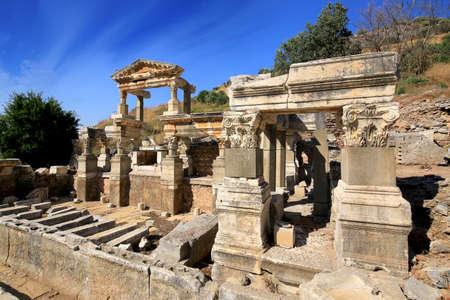 Fountain of Trajan, Nymphaeum Traiani in Ephesus ancient city, Selcuk, Izmir, Turkey.
